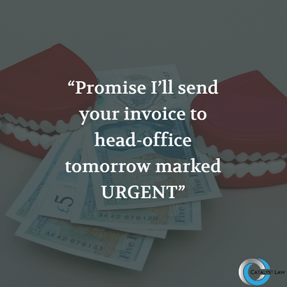 Money image with text - Promise I'll send your invoice to head-office tomorrow marked as urgent