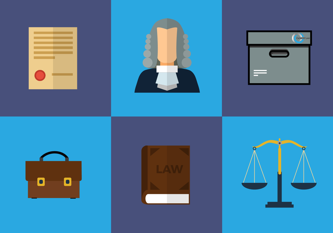 Small Claim icons, judge, justice scales and issue documents